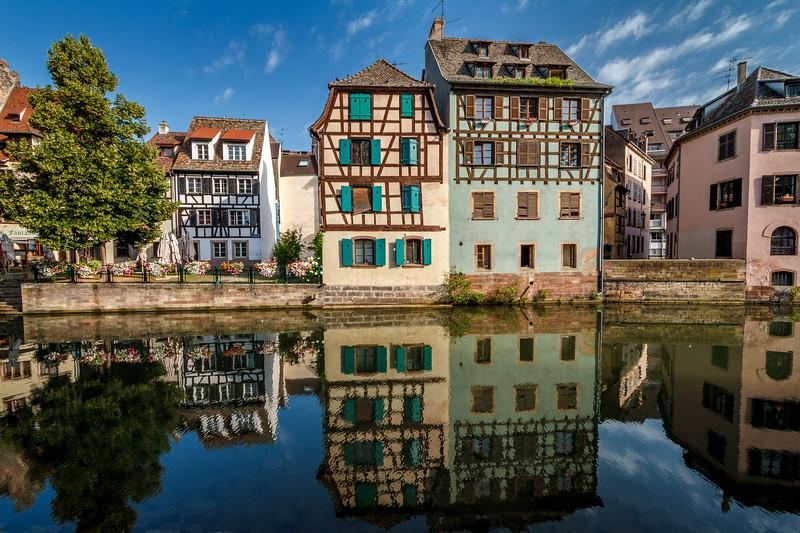 Stunning reflection at the picturesque Quai de la Petite France.