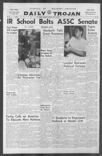 Daily Trojan, Vol. 53, No. 109, April 12, 1962