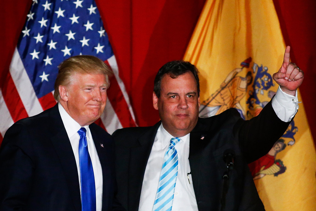 . Republican presidential candidate Donald Trump (L) and New Jersey governor Chris Christie greet the crowd at a fundraising event in Lawrenceville, New Jersey on May 19, 2016.   (EDUARDO MUNOZ ALVAREZ/AFP/Getty Images)