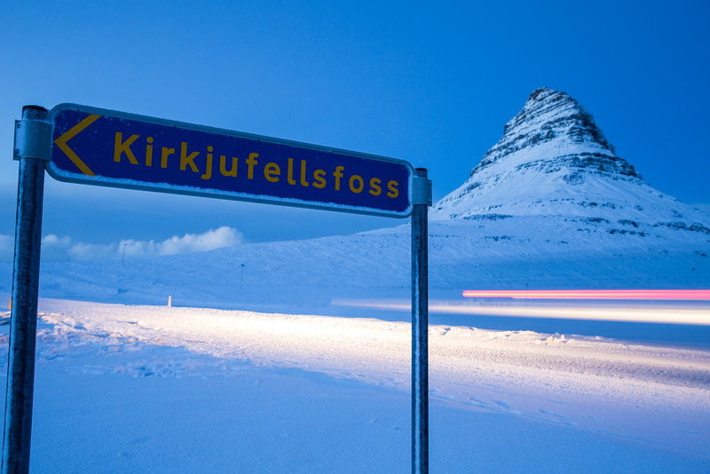 Kirkjufell in the day time.