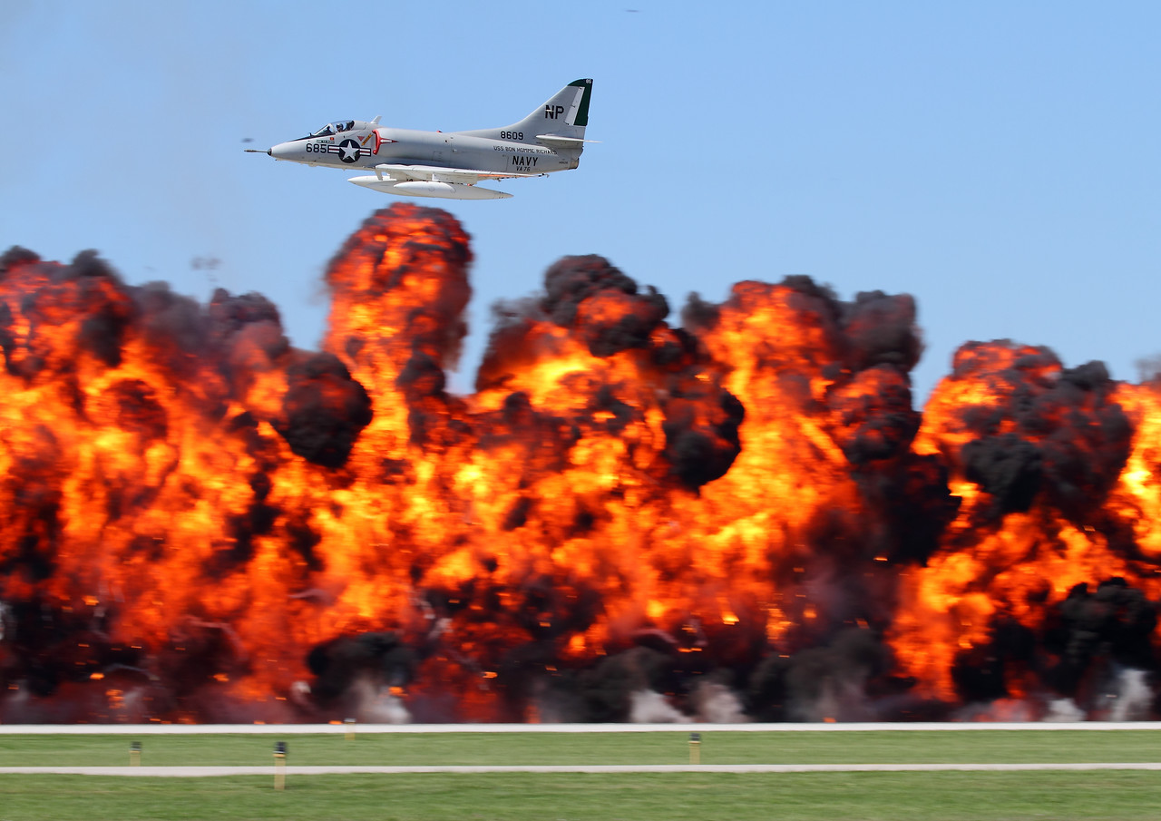 Warbird Heritage Foundation's A-4 Skyhawk performing a bombing run at Waukegan, flown by Paul Wood.