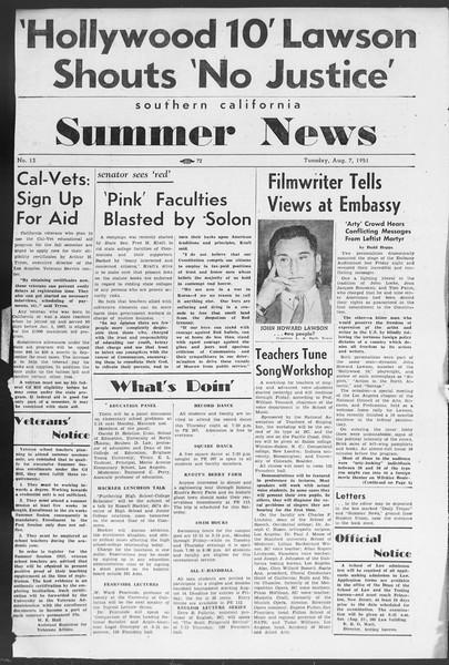 Summer News, Vol. 6, No. 13, August 07, 1951