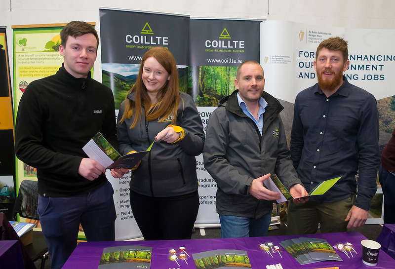 09/03/2019. Pictured at the Waterford Institute of Technology Science Careers Day.  Pictured are Erin Furlong Portlaw, Stephanie Corcoran of Coillte, Jamie Hawan Coillte and Ronan O'Keeffe of Waterford city. Picture: Patrick Browne