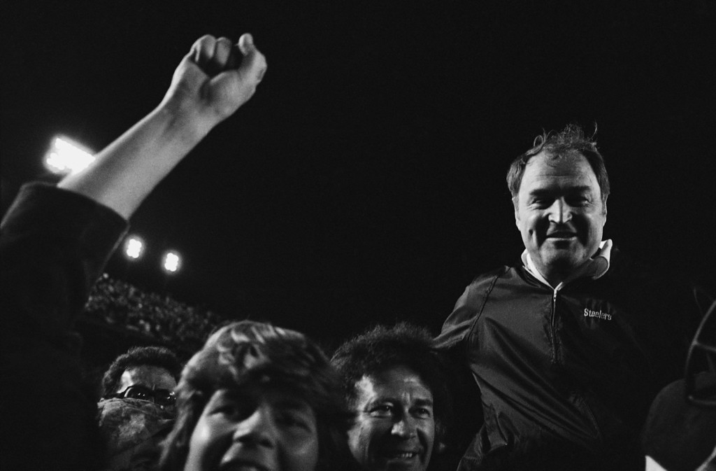 . Pittsburgh Steelers coach Chuck Noll is carried off the field after his team defeated the Dallas Cowboys, 35-31, in Super Bowl XIII in Miami on Sunday, Jan. 21, 1979. (AP Photo)