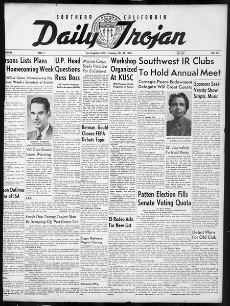 Daily Trojan, Vol. 38, No. 32, October 29, 1946