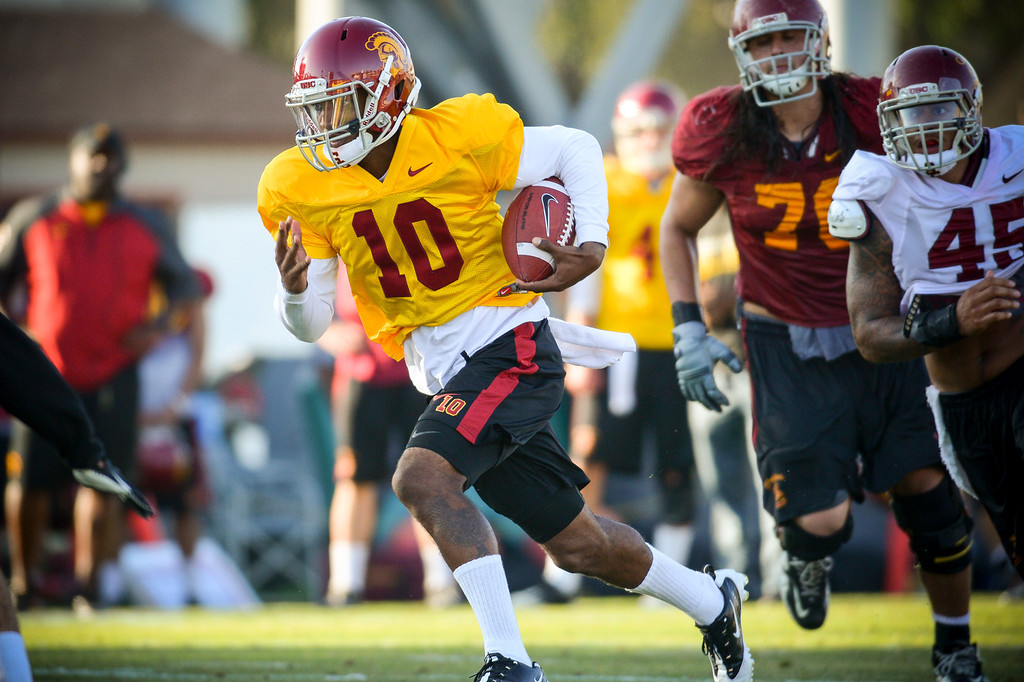 . USC�s Hayes Pullard during spring practice at USC Tuesday, April 15, 2014.  (Photo by David Crane/Los Angeles Daily News.)
