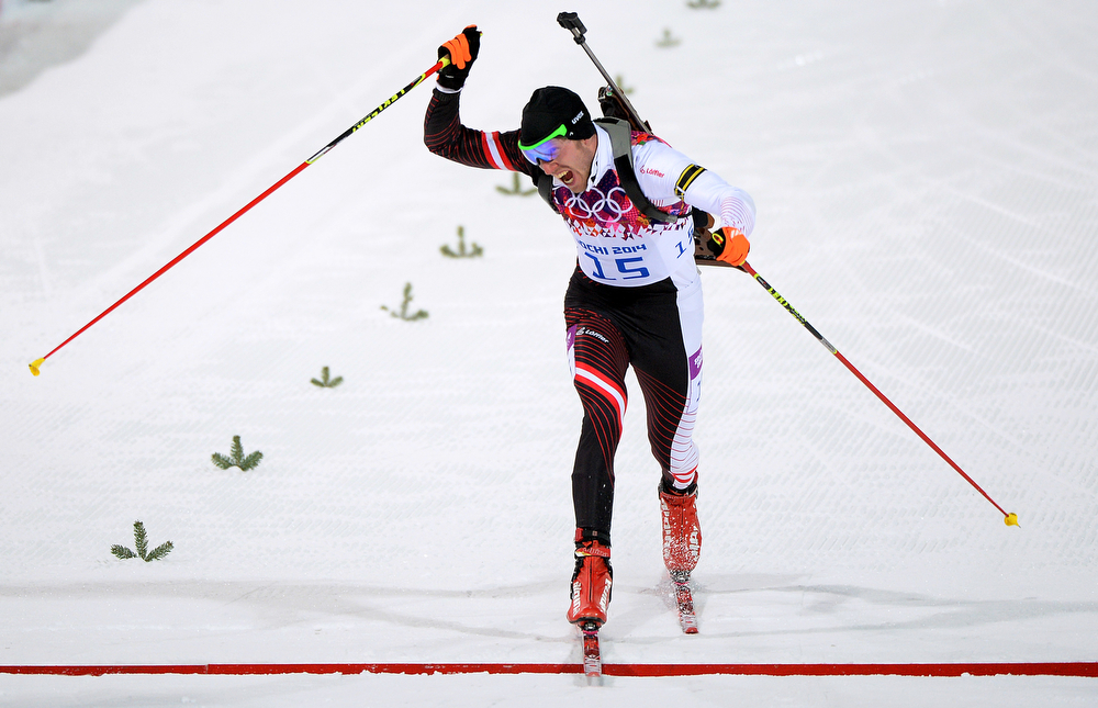 . Dominik Landertinger of Austria competes in the Men\'s Sprint 10 km during day one of the Sochi 2014 Winter Olympics at Laura Cross-country Ski & Biathlon Center on February 8, 2014 in Sochi, Russia.  (Photo by Harry How/Getty Images)