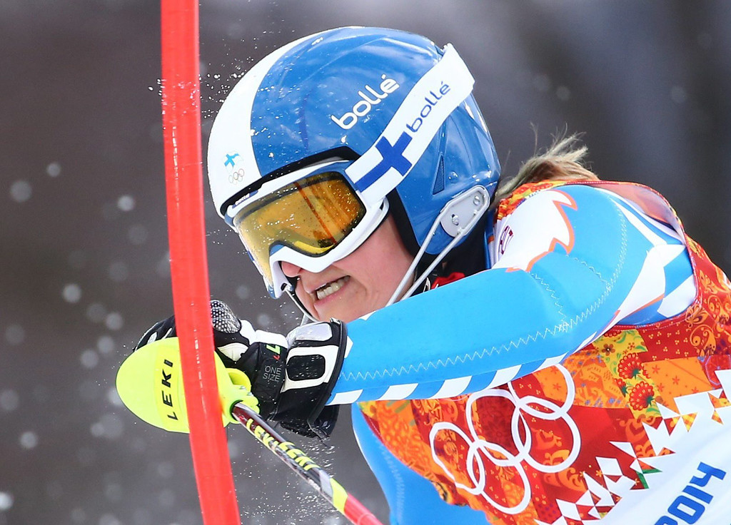 . Tanja Poutiainen of Finland in action during the first run of the Women\'s Slalom race at the Rosa Khutor Alpine Center during the Sochi 2014 Olympic Games, Krasnaya Polyana, Russia, 21 February 2014.  EPA/MICHAEL KAPPELER