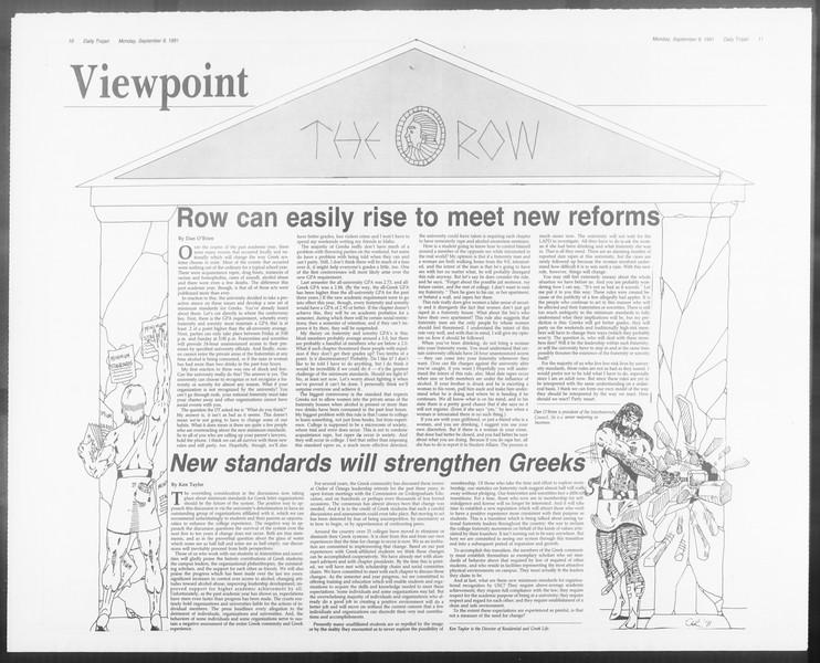 Daily Trojan, Vol. 116, No. 5, September 09, 1991