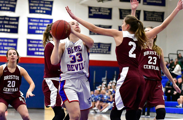 12/13/2018 Mike Orazzi | Staff Plainville High School's Kristina Miller (33) during Thursday night's basketball game with Bristol Central at PHS.