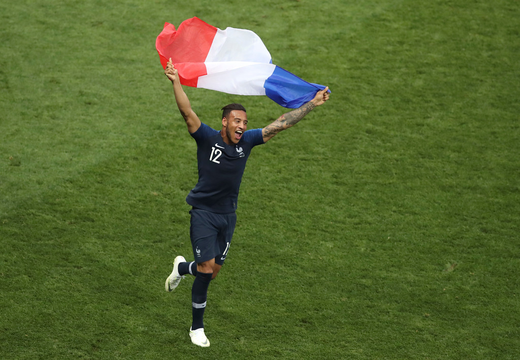 . France\'s Corentin Tolisso celebrates at the end of the final match between France and Croatia at the 2018 soccer World Cup in the Luzhniki Stadium in Moscow, Russia, Sunday, July 15, 2018. (AP Photo/Thanassis Stavrakis)