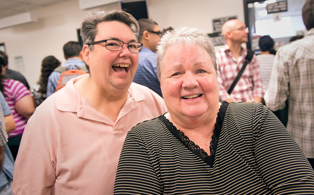 . Linda Pittman, 57, left, and Nancy Black, 64, of Torrance wait in line to receive their marriage license at the Los Angeles County Registrar-Recorder/County Clerk office in Norwalk, Ca. July 1, 2013.   (SGVN staff photo by Leo Jarzomb)