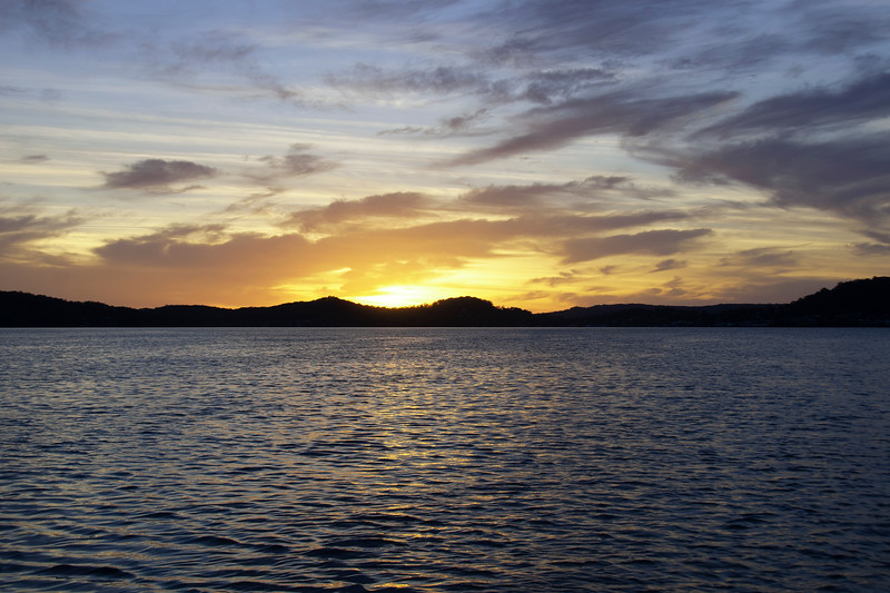 Yellow stratocumulus cloudy coastal Sunrise Seascape. Australia