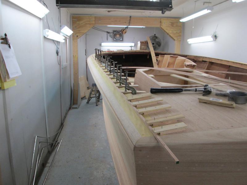 Rear half deck seam jig for the outside deck seam.