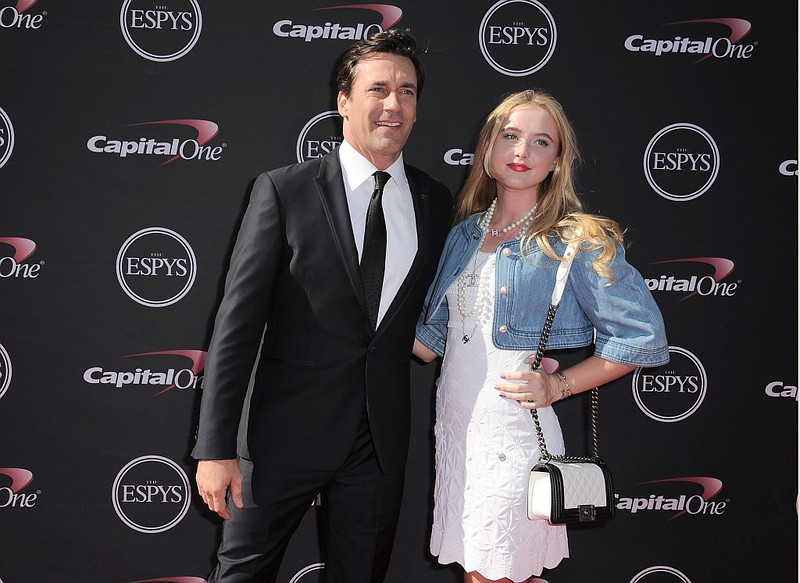 . Jon Hamm, left, and Kathryn Newton arrive at the ESPY Awards on Wednesday, July 17, 2013, at Nokia Theater in Los Angeles. (Photo by Jordan Strauss/Invision/AP)
