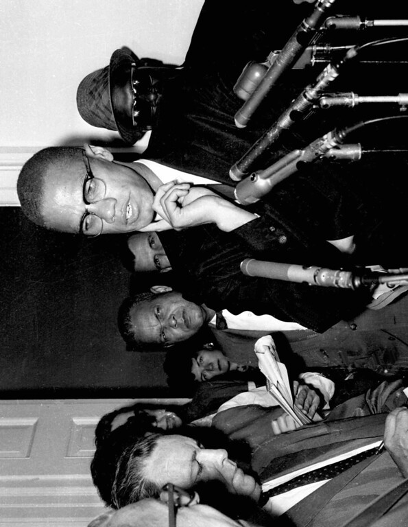 . Civil rights leader Malcolm X speaks to reporters in Washington, D.C., in this May 16, 1963 photo. (AP Photo)