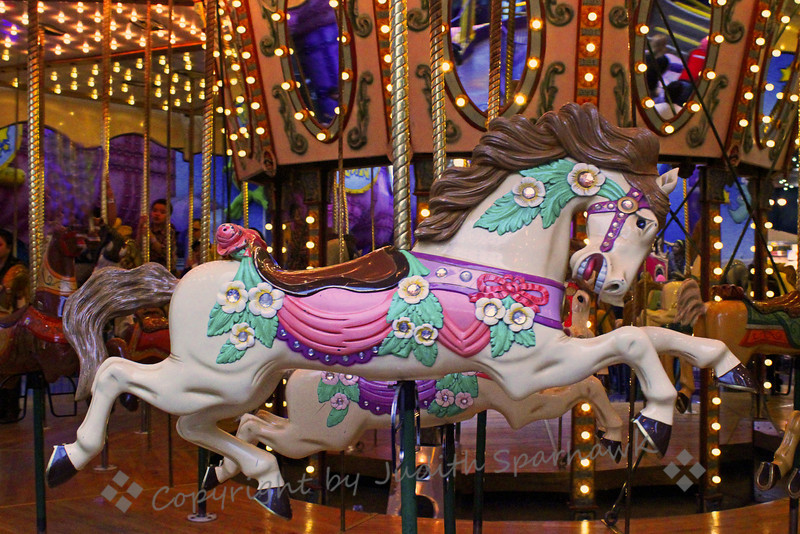 White Horses Running ~ Beautiful horses on the carousel at the West Edmonton Mall.  It was dazzling with lights and colors and movement.
