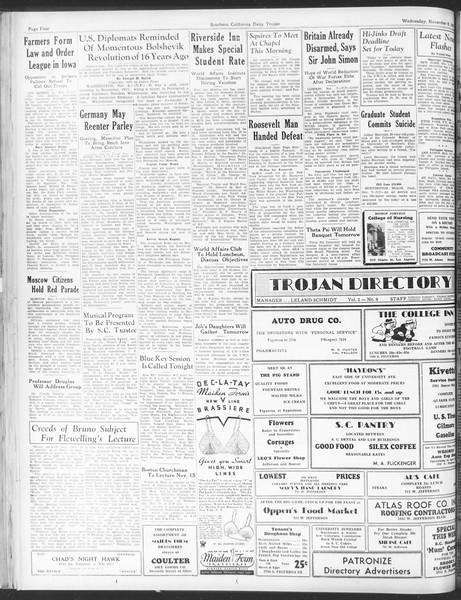 Daily Trojan, Vol. 25, No. 33, November 08, 1933