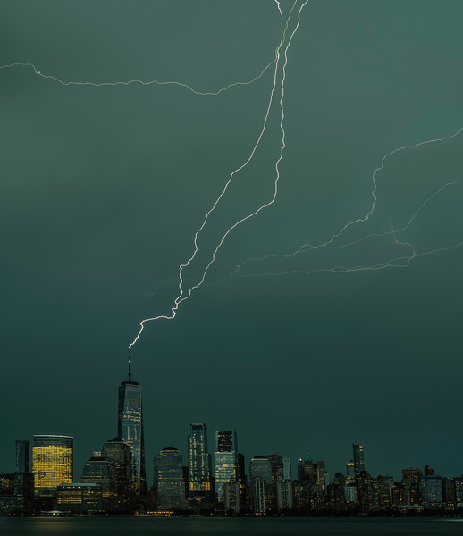 Lighting over lower Manhattan