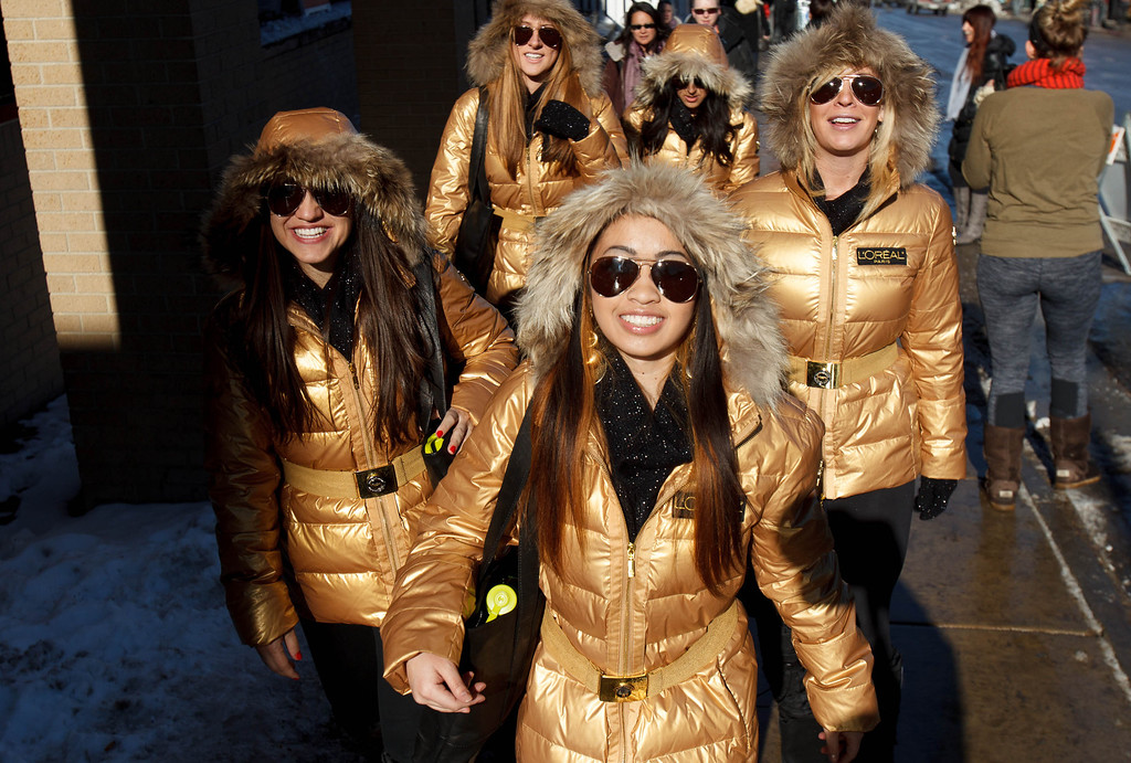 . A group of women from Sundance Film Festival sponsor L�Oréal Paris on Park City\'s Main Street Friday January 18, 2013. Trent Nelson  |  The Salt Lake Tribune