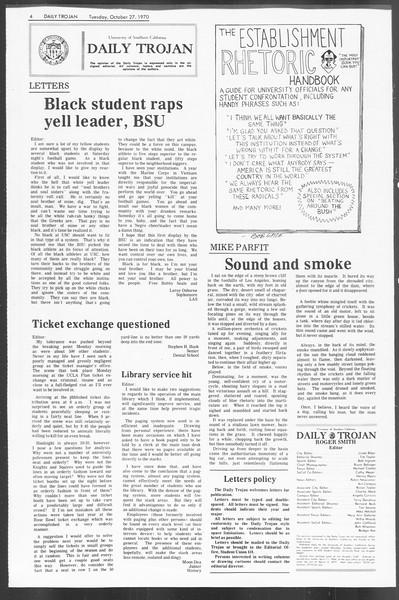 Daily Trojan, Vol. 62, No. 25, October 27, 1970