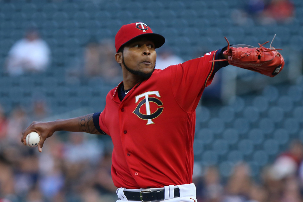 . Minnesota Twins pitcher Ervin Santana throws against the Cleveland Indians in the first inning of a baseball game Monday, July 30, 2018 in Minneapolis. (AP Photo/Stacy Bengs)