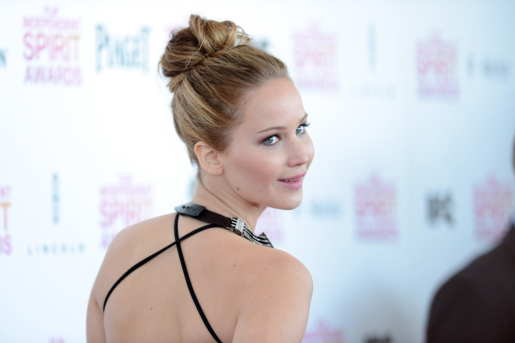 . SANTA MONICA, CA - FEBRUARY 23:  Actress Jennifer Lawrence attends the 2013 Film Independent Spirit Awards at Santa Monica Beach on February 23, 2013 in Santa Monica, California.  (Photo by Jason Merritt/Getty Images)