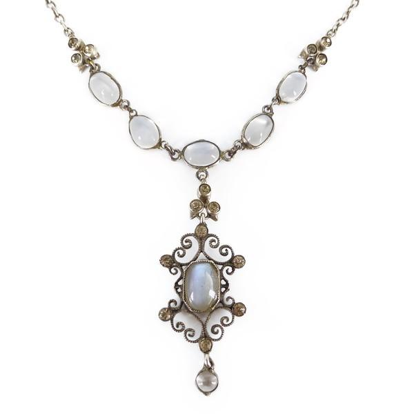 Antique Arts & Crafts Silver Moonstone Paste Drop Necklace