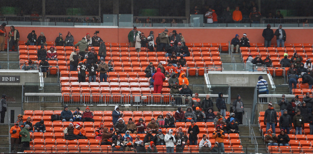 . Empty seats are shown in the first half of an NFL football game between the Cincinnati Bengals and the Cleveland Browns, Sunday, Dec. 11, 2016, in Cleveland. (AP Photo/Ron Schwane)