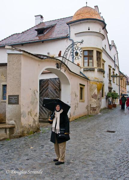 Louise in the rain in Durnstein