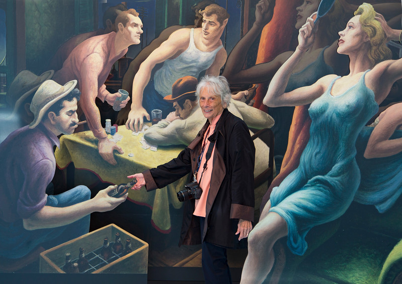 Carol has somehow found her way into Thomas Hart Benton's 1948 painting,  Poker Night (from A Streetcar Named Desire)