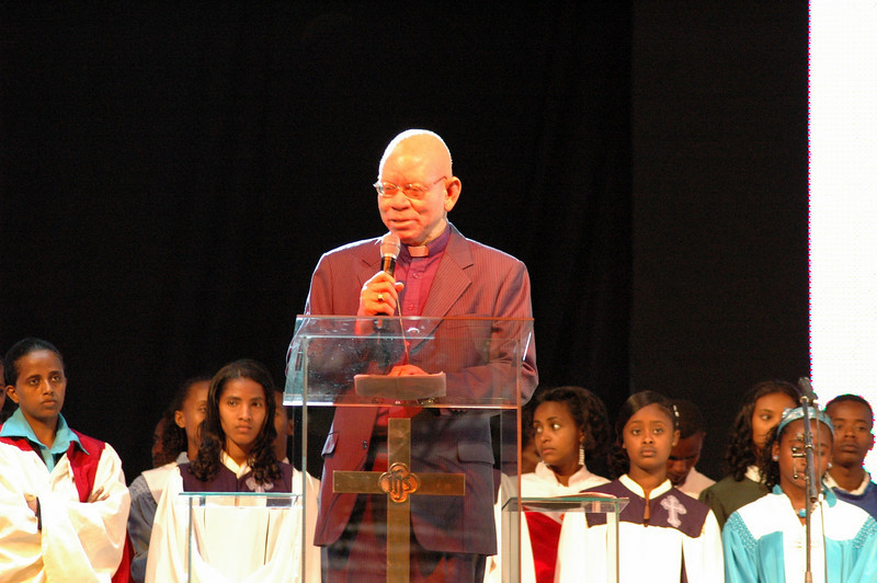 Bishop Zephania Kameeta, represented the Lutheran World Federation at the EECMY's 50th anniverary worship celebration Jan. 18.  Kameeta is bishop of the Evangelical Lutheran Church in the Republic of Namibia.