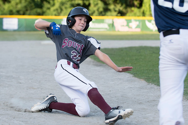 07/09/19 Wesley Bunnell | Staff Southington North vs Southington South in a Little League playoff game on Tuesday July 9, 2019 at Bill Petit Field. Shane Richters (22).