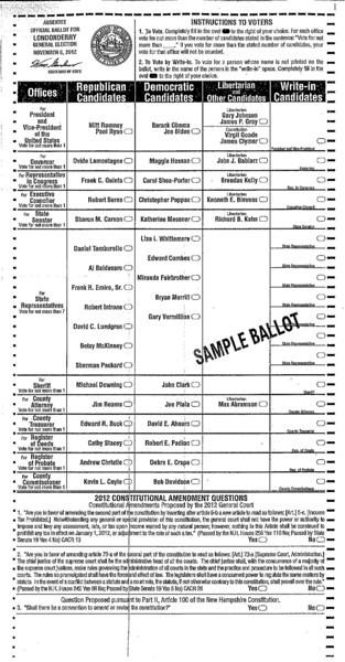 November 6 2012 Sample Ballot