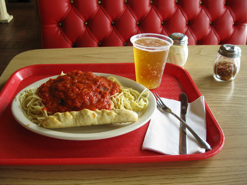 Chicken Parmesan and a beer at Portofino restaurant. Excellent.