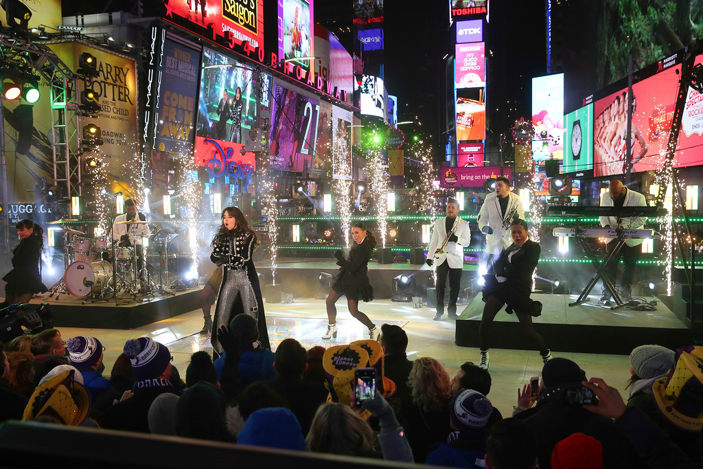 . Camila Cabello performs on stage at the New Year\'s Eve celebration in Times Square on Sunday, Dec. 31, 2017, in New York. (Photo by Brent N. Clarke/Invision/AP)