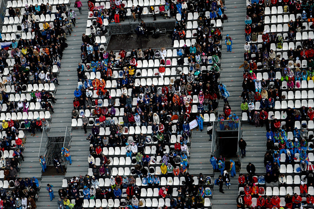 . ROSA KHUTOR, RUSSIA - FEBRUARY 09: Fans watch the women\'s snowboard slopestyle final. Sochi 2014 Winter Olympics at the Rosa Khutor Etreme Park on Sunday, February 9, 2014. (Photo by AAron Ontiveroz/The Denver Post)
