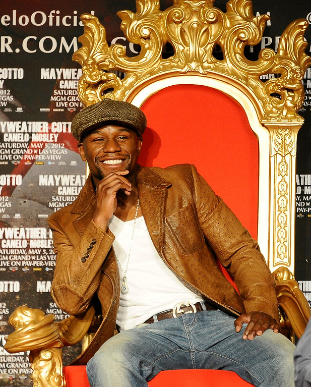 . Floyd Mayweather Jr. , Seven-Time and Five-Division World Champion talks at a press conference on his upcoming fight with Miguel Cotto at Grauman\'s Chinese Theater. The two will fight May 5th in Las Vegas at the MGM grand hotel. Hollywood CA.  March 1,2012. Photo by Gene Blevins/LA DailyNews