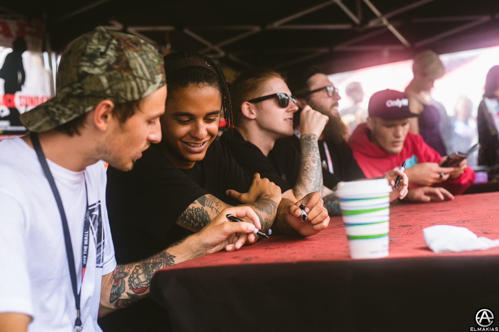 Neck Deep signing at Vans Warped Tour 2015 by Adam Elmakias