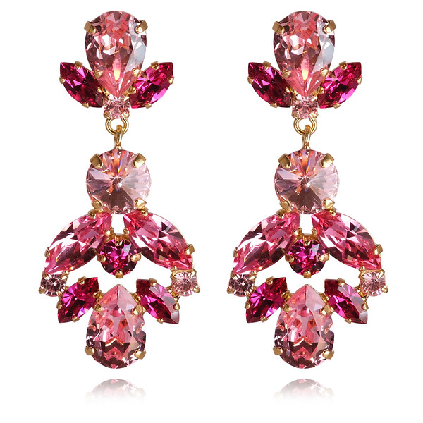 Melina Earrings / Fuchsia + Light Rose