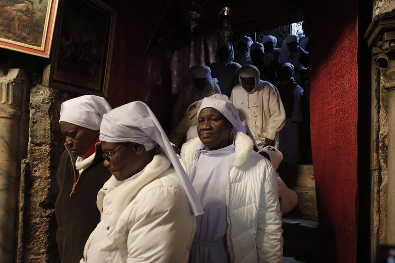 . Nigerian pilgrims arrive to pray as part of Christmas celebrations inside the Grotto at the Church of the Nativity, believed to be the birthplace of Jesus Christ, on December 24, 2014 in the West Bank biblical town of Bethlehem. This year, Israel granted around 500 permits to Palestinian Christians, allowing them to travel from Gaza to the West Bank so they can visit Bethlehem\'s Nativity church and attend the traditional midnight mass.  AHMAD GHARABLI/AFP/Getty Images