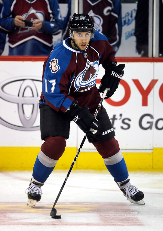 . DENVER, CO. - MARCH 12: Aaron Palushaj (17) of the Colorado Avalanche skated before the game. The Colorado Avalanche hosted the Dallas Stars Wednesday night, March 19, 2013 at the Pepsi Center in Denver. (Photo By Karl Gehring/The Denver Post)