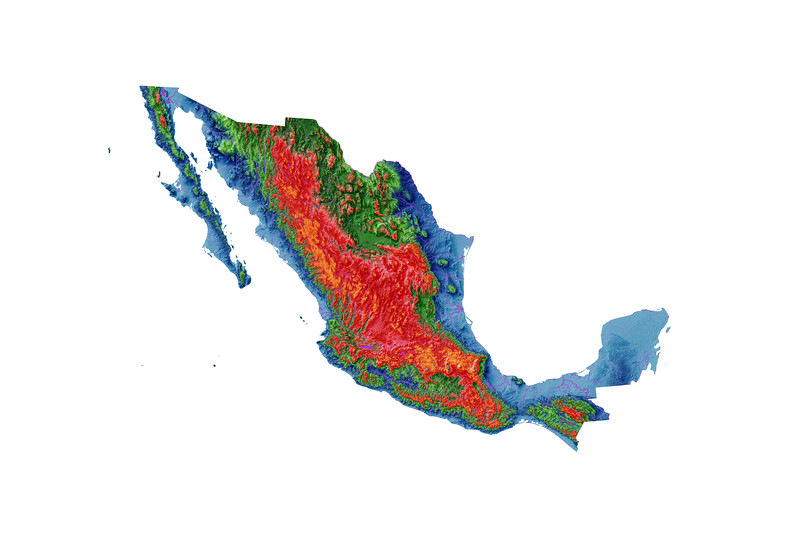 Elevation map of Mexico