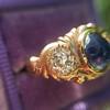 1.75ctw Cab Sapphire and Old European Cut Diamond 3-stone Ring 4