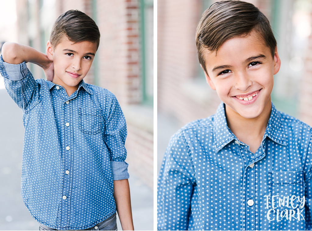 Downtown Pleasanton, CA kids model headshots for JE Model by Tenley Clark Photography. Ty brick wall.