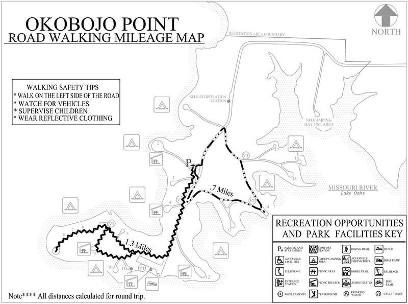 Okobojo Point Recreation Area (Road Walking Map)
