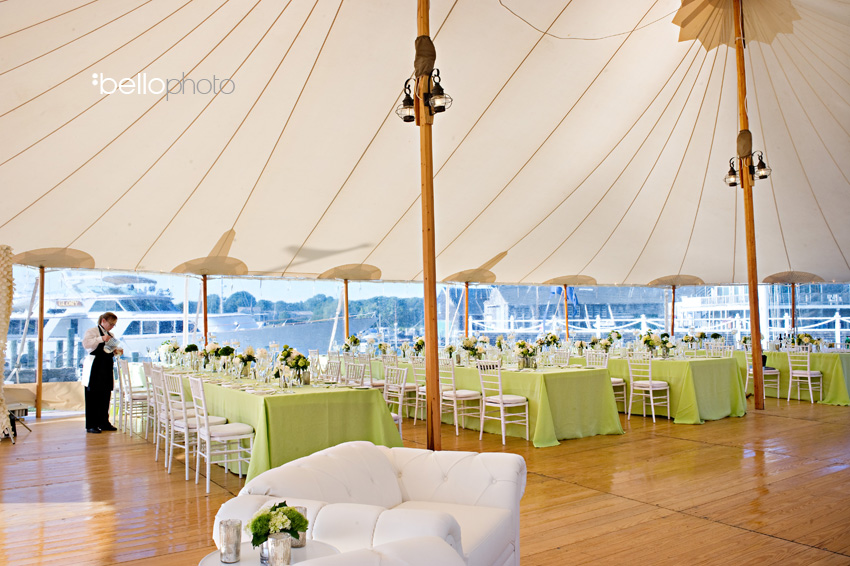 Tented waterfront Cape Cod wedding -- photo by Bello Photography - Nauticus Marina - The Casual Gourmet, Cape Cod Wedding Caterer