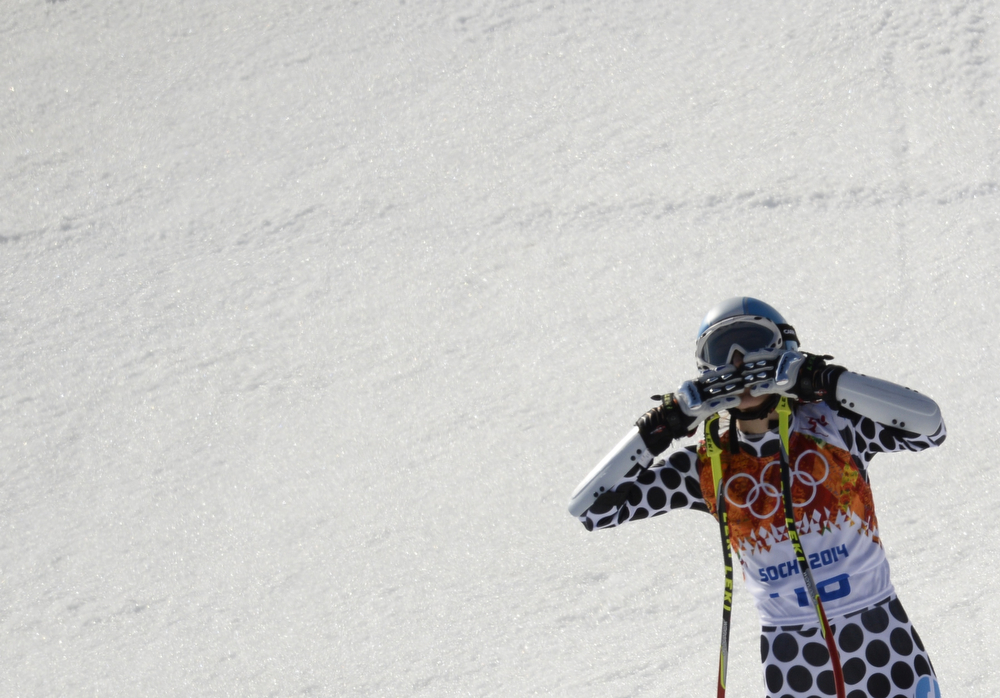 . Argentina\'s Macarena Simari Birkner reacts after the Women\'s Alpine Skiing Super-G at the Rosa Khutor Alpine Center during the Sochi Winter Olympics on February 15, 2014.  (FRANCK FIFE/AFP/Getty Images)