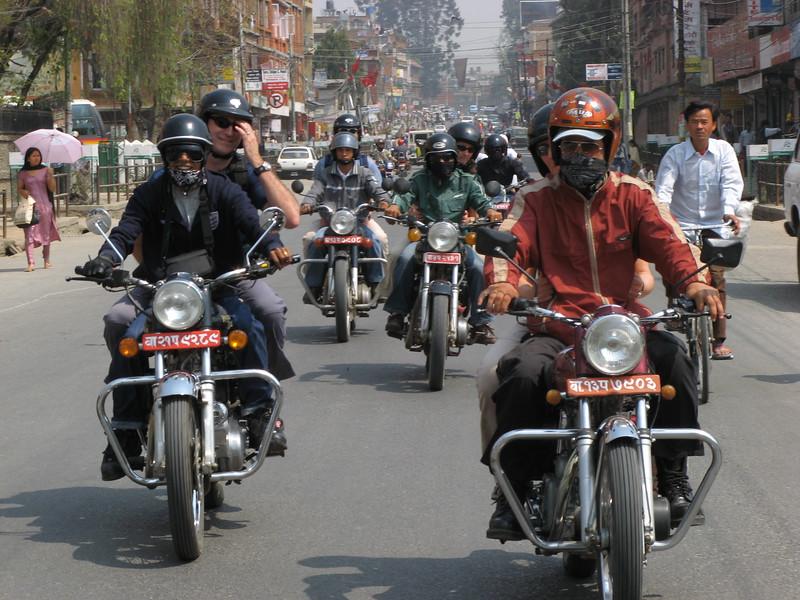 Pillion riding on Royal Enfield motorbikes in Kathmandu