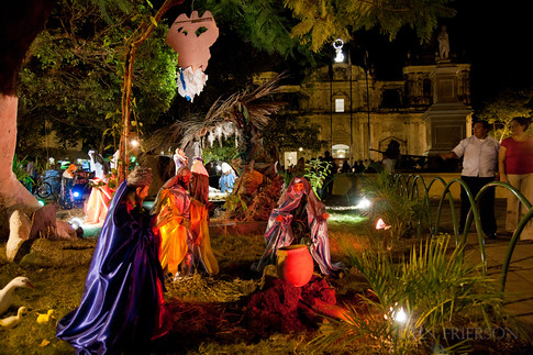 Nativity scene in front of the Basilica de la Asuncion, Leon, Nicaragua.